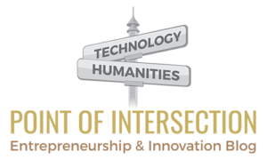 Innovation: Intersection of technology and humanities. logo of the point of intersection blog