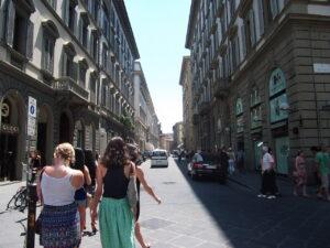 gray stone of Florence's sidewalks